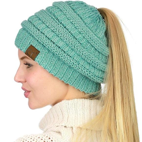 6aa665b25c4eb NWOT C.C Messy Bun Beanie Tail Hat in Mint